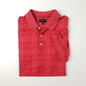 Burberry Golf Polo Large Red Plaid Short Sleeve